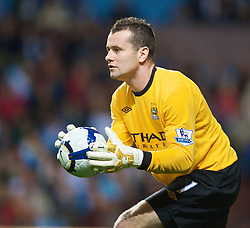 BIRMINGHAM, ENGLAND - Monday, October 5, 2009: Manchester City's goalkeeper Shay Given in action against Aston Villa during the Premiership match at Villa Park. (Pic by David Rawcliffe/Propaganda)