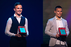 Tilen Klemencic of NK Domzale and Martin Milec of NK Maribor with rewards for best back in Prva Liga Telekom Slovenije 2018/19 during SPINS XI Nogometna Gala 2019 event when presented best football players of Prva liga Telekom Slovenije in season 2018/19, on May 19, 2019 in Slovene National Theatre Opera and Ballet Ljubljana, Slovenia. Photo by Grega Valancic / Sportida.com