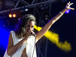 © Licensed to London News Pictures . 08/06/2013 . Heaton Park , Manchester , UK . Aluna Francis of AlunaGeorge on the main stage . Day 1 of the Parklife music festival in Manchester on Saturday 8th June 2013 . Photo credit : Joel Goodman/LNP