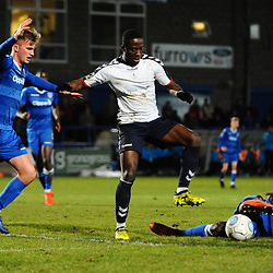 TELFORD COPYRIGHT MIKE SHERIDAN 12/2/2019 - Dan Udoh of AFC Telford battles for the ball with Josh Langley (formerly of Shrewsbury Town Football Club) and Kennedy Digie during the Vanarama Conference North fixture between AFC Telford United and Guiseley at the New Bucks Head.