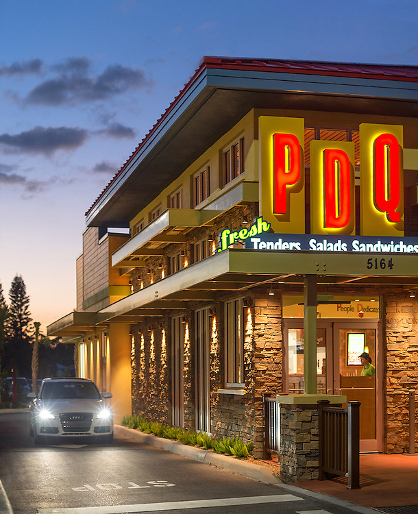 Restaurant photography jobs always makes me hungry! I produced a set of restaurant architecture photographs, both inside and out, at PDQ Sarasota for three clients.