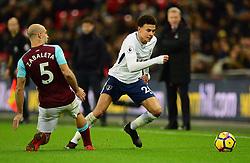 Dele Alli of Tottenham Hotspur in action with Pablo Zabaleta of West Ham United - Mandatory by-line: Alex James/JMP - 04/01/2018 - FOOTBALL - Wembley Stadium - London, England - Tottenham Hotspur v West Ham United - Premier League