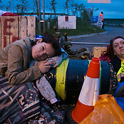 13 local activists locked themselves in specially made arm tubes to block the entrance to Quadrilla's drill site in New Preston Road, July 03 2017, Lancashire, United Kingdom. Louise Robinson and Alana McCullough. The 13 activists included 3 councillors; Julie Brickles, Miranda Cox and Gina Dowding and Nick Danby, Martin Porter, Jeanette Porter,  Michelle Martin, Louise Robinson,<br /> Alana McCullough , Nick Sheldrick, Cath Robinson, Barbara Cookson, Dan Huxley-Blyth. The blockade is a repsonse to the emmidiate drilling for shale gas, fracking, by the fracking company Quadrilla. Lancashire voted against permitting fracking but was over ruled by the conservative central Government. All the activists have been active in the struggle against fracking for years but this is their first direct action of peacefull protesting. Fracking is a highly contested way of extracting gas, it is risky to extract and damaging to the environment and is banned in parts of Europe . Lancashire has in the past experienced earth quakes blamed on fracking.