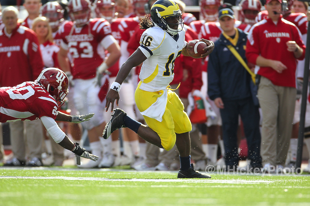 Action photos from Indiana University Hoosiers vs University of Michigan Wolverines NCAA football at Memorial Stadium in Bloomington, Indiana. .Sports photography by Michael Hickey
