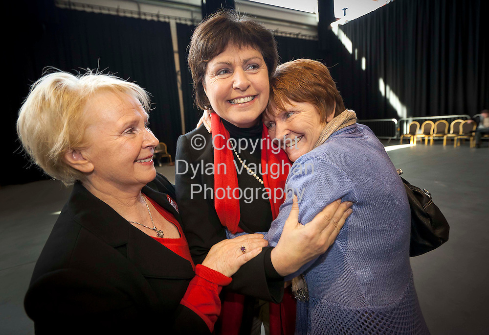 27/2/2011.Ann Phelan Labour (center) pictured at the count centre at Cillin Hill Kilkenny for the Carlow Kilkenny vote with her sister in laws from left Esther Dempsey and Tina O Farrell..Picture Dylan Vaughan.....
