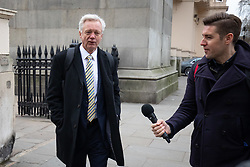 © Licensed to London News Pictures. 15/01/2019. London, UK. Former Secretary of State for Exiting the European Union David Davis (left) arrives to speak at 'A Better Deal' event, outlining the opportunities if Parliament rejects the Government's proposed deal. Today, MPs are due to vote on British Prime Minister Theresa May's EU withdrawal deal, after the previous vote in December was postponed. Photo credit : Tom Nicholson/LNP