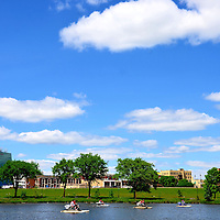 St. Cloud Skyline from Lake George with Paddleboats in St. Cloud, Minnesota<br />