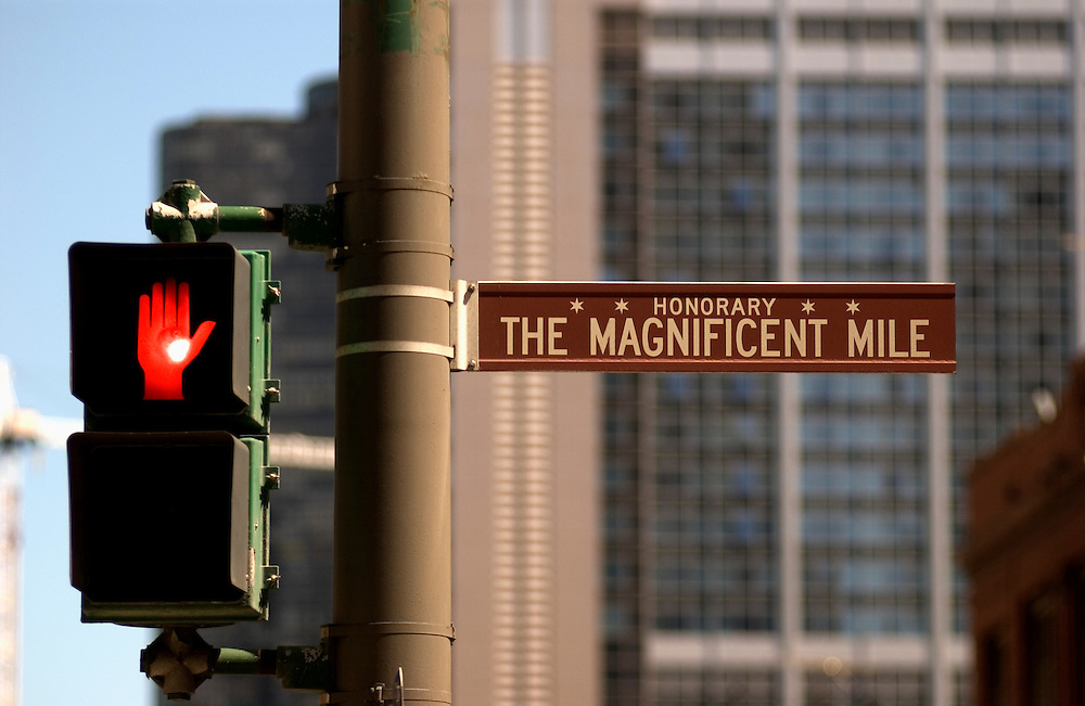 Magnificent Mile sign on Michigan Ave., Chicago, IL