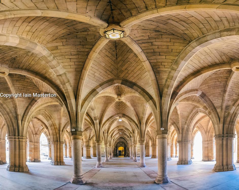 View of cloisters between the quadrangles at Glasgow University , Scotland, United Kingdom
