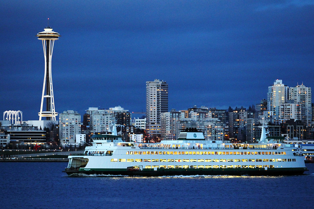 MV Wenatchee Washington State Ferry departs from Seattle.