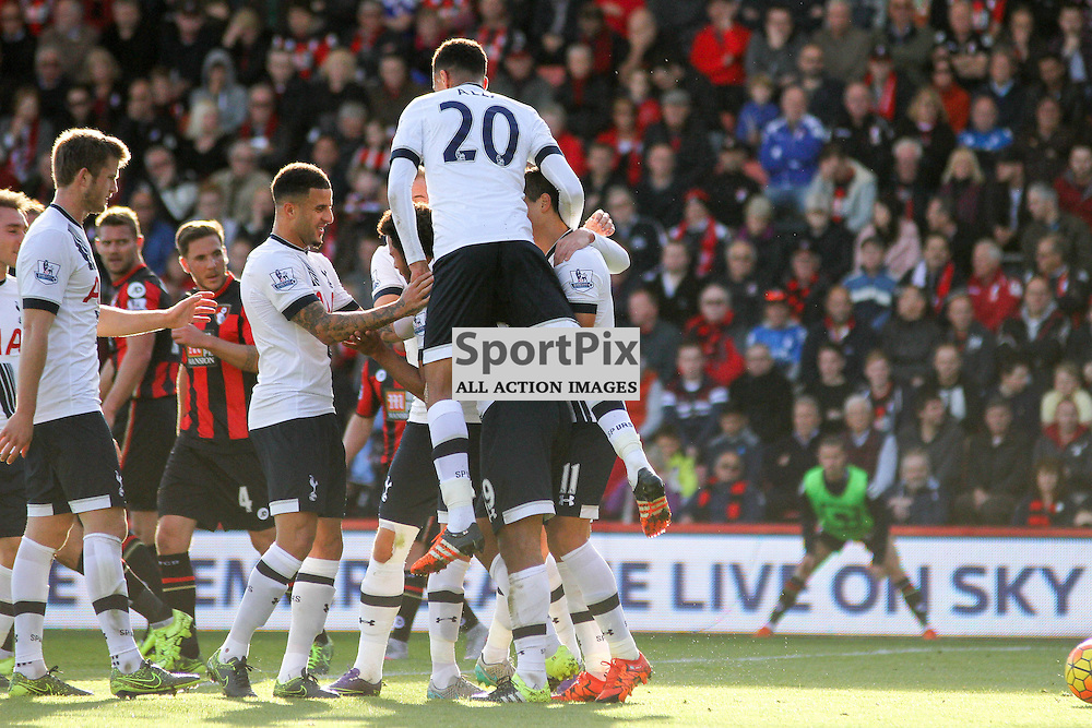 The Tottenham Hotspur team celebrate Dembele's goal and their second of the match During Bournemouth vs Tottenham Hotspur on Sunday 25th of October 2015.