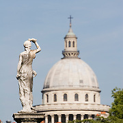 Statue in the Jardin du Luxembourg with the dome of the Pantheon, Paris France<br />
