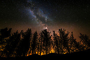 The Milky Way and Perseid meteorsover Rose Valley, Los Padres National Forest, California USA