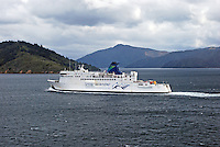 Interinslander ferry, Arahura, which plies between Wellington, North Island, New Zealand, and Picton in the South Island. 201004135386..Copyright Image from Victor Patterson, 54 Dorchester Park, Belfast, United Kingdom, UK. Tel: +44 28 90661296. Email: victorpatterson@me.com; Back-up: victorpatterson@gmail.com..For my Terms and Conditions of Use go to www.victorpatterson.com and click on the appropriate tab.