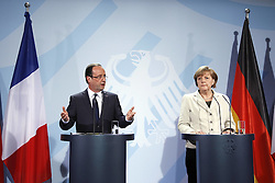 Bildnummer: 57992095..Chancellor Angela Merkel and Franois Grard Georges Nicolas Hollande during a press conference French Presidents in Federal Chancellery in Berlin Germany, Tuesday May 15, 2012.Sven Simon/imago/ i-Images