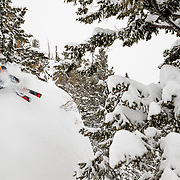 Jim Ryan skis a monster blower powder winter storm in the Teton backcountry.
