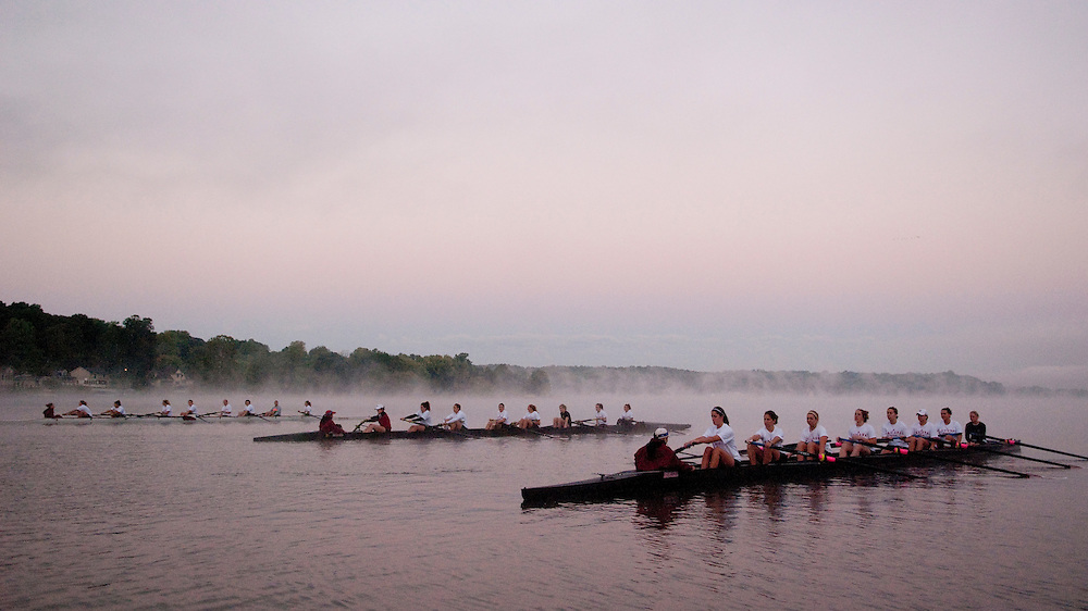 Indiana University women rowing crew team at Lake Lemon, Bloomington, Indiana.