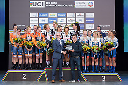 Hans Timmerman received the award from Brian Cookson at UCI Road World Championships Women's Team Time Trial 2017 a 42.5 km team time trial in Bergen, Norway on September 17, 2017. (Photo by Sean Robinson/Velofocus)