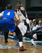 Jerice Crouch of the Razorsharks directs a teammate during a game against the Carolina Vipers at the Blue Cross Arena on Saturday, December 6, 2014.