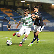 Celtic's Calum Waters holds off Dundee's Dylan Carreiro  - Celtic v Dundee  SPFL Development League at Cappielow<br /> <br />  - &copy; David Young - www.davidyoungphoto.co.uk - email: davidyoungphoto@gmail.com