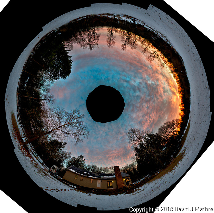 Inverse Little Planet Panorama of Dawn Winter Clouds and Sky Over New Jersey. Composite of 26 images taken with a Nikon D810a camera and 14-24 mm f/2.8 zoom lens (ISO 200, 24 mm, f/5.6, 1/30 sec). Raw images processed with Capture One Pro, Photoshop CC, and AutoGiga Pan Pro.