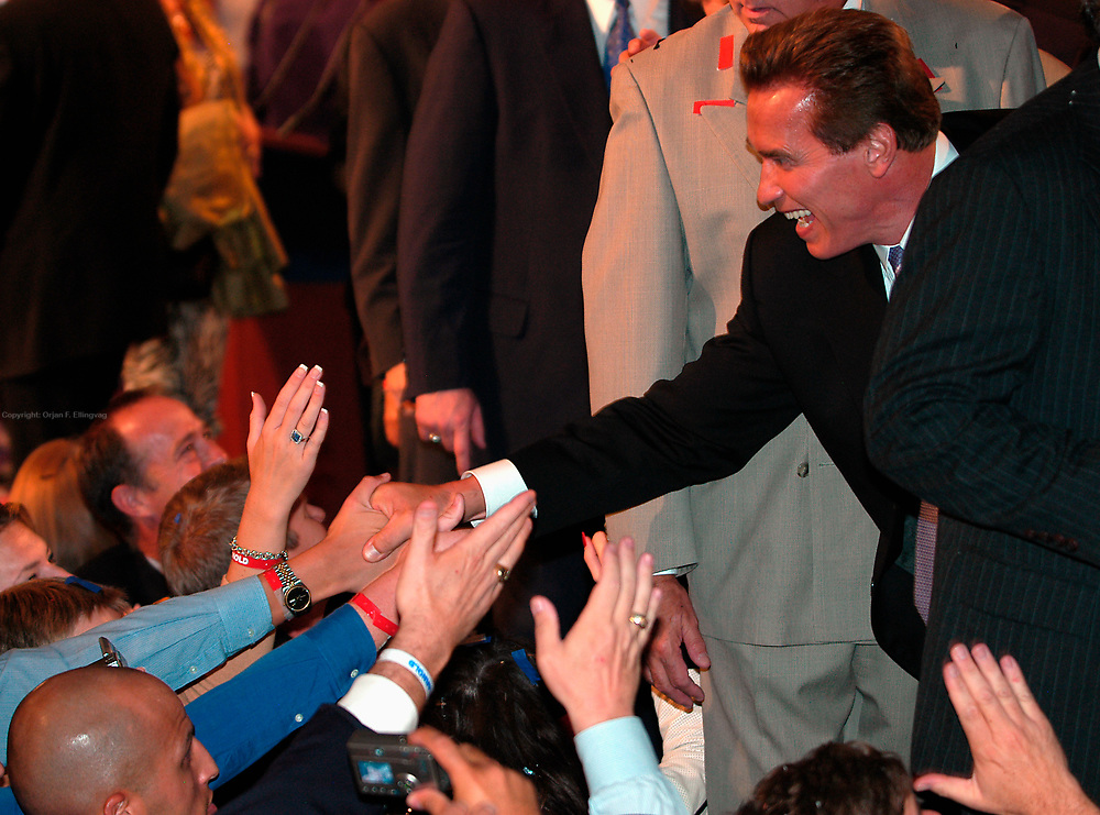 Los Angeles, CA, USA, 07.10.2003: Arnold Schwarzenegger celebrates his landslide victory over Lt. Governor Cruz Bustamante in the Recall Election in California at the Century Plaza Hotel.<br /> <br /> Arnold Schwarzenegger greets supporters and volunteers.<br /> <br /> Photo: Orjan F. Ellingvag/ Dagbladet/ Corbis