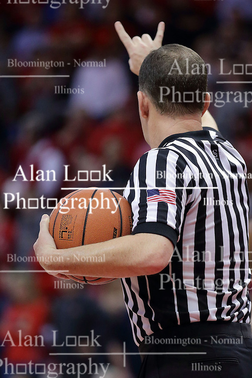 22 February 2017:  Brad Gaston grants 2 free throws during a College MVC (Missouri Valley conference) mens basketball game between the Southern Illinois Salukis and Illinois State Redbirds in  Redbird Arena, Normal IL