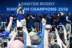 May 13, 2018 - Dublin, Ireland - Members of the Leinster Team celebrate during the homecoming ceremony at Energia Park, Donnybrook, following their victory in the European Champions Cup Final in Bilbao, Spain..On Sunday, May 13, 2018, in Donnybrook, Dublin, Ireland. (Credit Image: © Artur Widak/NurPhoto via ZUMA Press)