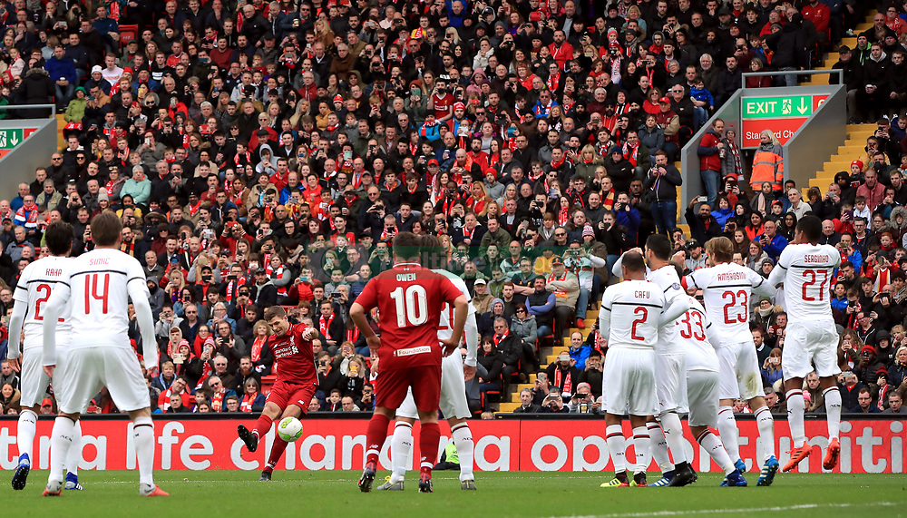 Liverpool's Steven Gerrard shoots direct from a free kick during the Legends match at Anfield Stadium, Liverpool.