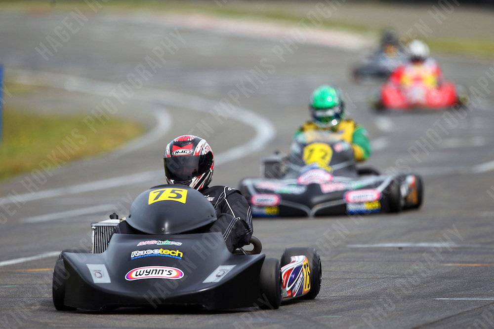 Daniel Sayles, 75, and Aarron Cunningham, 72, race in the Rotax Heavy class during the 2012 Superkart National Champs and Grand Prix at Manfeild in Feilding, New Zealand on Saturday, 7 January 2011. Credit: Hagen Hopkins.