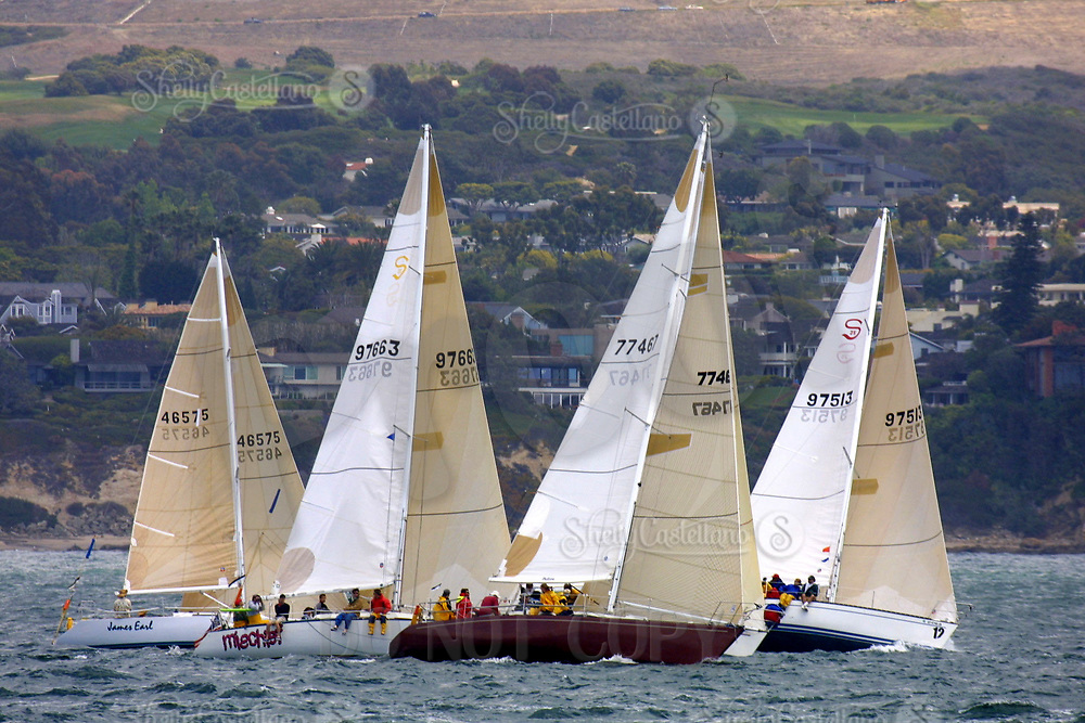 Apr 26, 2002; Newport Beach, California, USA; Four boats start the race in front of the Pelican Hill Golf course.<br />