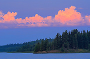 Storm clouds at sunrise above Laurie Lake<br />