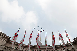 LONDON, UK  29/04/2011. The Royal Wedding of HRH Prince William to Kate Middleton. Eurofighers Typhoons and Tornadoes fly past Admiralty Arch on their way towards Buckingham Palace. Photo credit should read MICHAEL GRAAE/LNP. Please see special instructions. © under license to London News Pictures