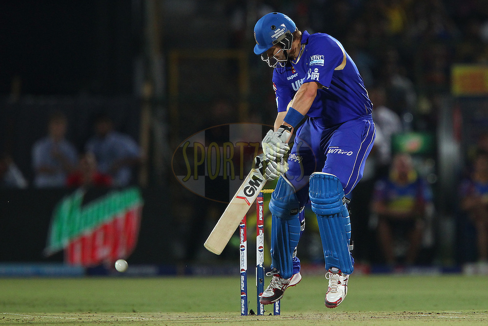 Shane Watson plays an akward delivery during match 61 of the Pepsi Indian Premier League ( IPL) 2013  between The Rajasthan Royals and the Chennai SUperkings held at the Sawai Mansingh Stadium in Jaipur on the 12th May 2013..Photo by Ron Gaunt-IPL-SPORTZPICS ..Use of this image is subject to the terms and conditions as outlined by the BCCI. These terms can be found by following this link:..http://www.sportzpics.co.za/image/I0000SoRagM2cIEc