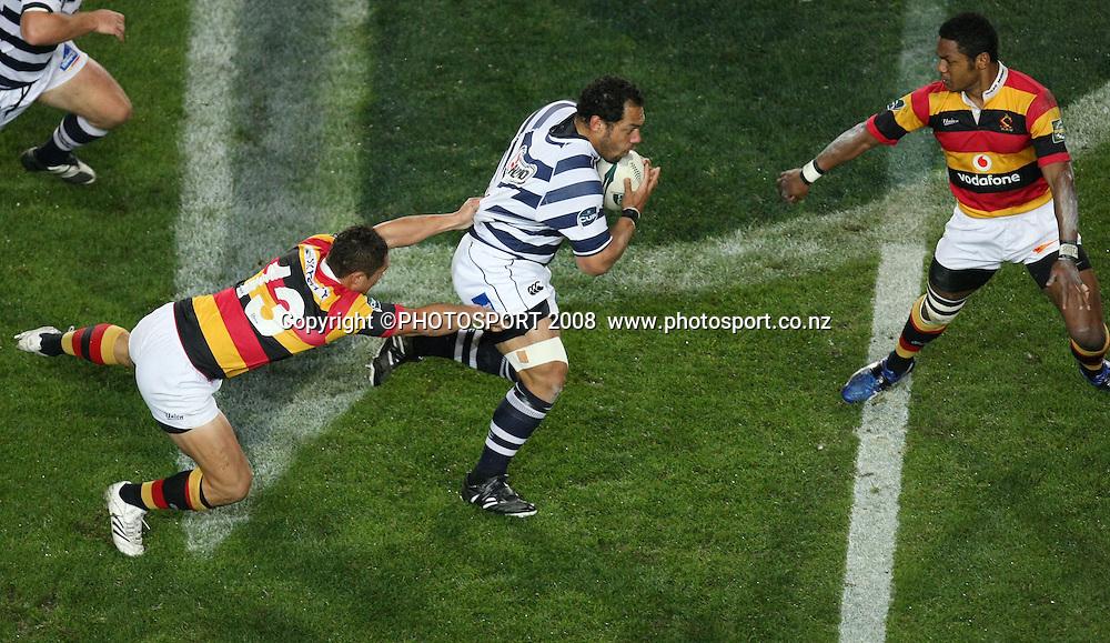 Auckland's John Afoa tackled by Jackson Willison. Air NZ Cup, Waikato v Auckland, Waikato Stadium, Hamilton, Saturday 30 August 2008. Photo: Stephen Barker/PHOTOSPORT