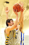 QUAKERTOWN, PA. - JANUARY 16: Central Bucks West's Erich Hohenleitner #32 fights for a rebound as Quakertown's Kyle Baskin #32 defends in the first quarter at Quakertown High School January 16, 2015 in Quakertown, Pennsylvania. (Photo by William Thomas Cain/Cain Images)