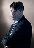 A portrait of Simon Armitage at the Edinburgh International Book Festival 2012 in Charlotte Square Gardens<br /> <br /> Pic by Pako Mera