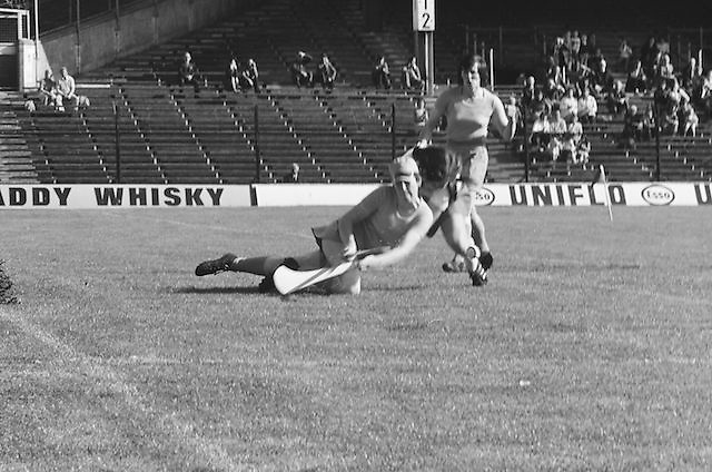 Cork goalie dives to save the ball but is unsuccessful as Wexford gain another goal during the All Ireland Senior Camogie Final Cork v Wexford in Croke Park on the 21st September 1975. Wexford 4-3 Cork 1-2.