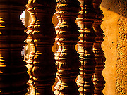 "13 MARCH 2015 - SIEM REAP, SIEM REAP, CAMBODIA:  Wooden bannisters in the Angkor Wat. The area known as ""Angkor Wat"" is a sprawling collection of archeological ruins and temples. The area was developed by ancient Khmer (Cambodian) Kings starting as early as 1150 CE and renovated and expanded around 1180CE by Jayavarman VII. Angkor Wat is now considered the seventh wonder of the world and is Cambodia's most important tourist attraction.   PHOTO BY JACK KURTZ"