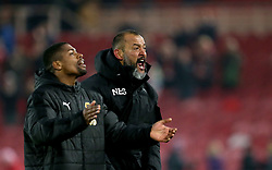 Wolverhampton Wanderers manager Nuno Espirito Santo (right) celebrates after the final whistle during the Sky Bet Championship match at Riverside Stadium, Middlesbrough.