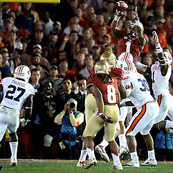Florida State wide receiver Kelvin Benjamin (1) catches the winning touchdown pass with 13 seconds left in the fourth quarter of the BCS National Championship game at the Rose Bowl in Pasadena, Calif., on Monday, Jan. 6, 2014. Florida State won 34-31.