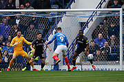 Oliver Hawkins of Portsmouth header goes wide during the EFL Sky Bet League 1 match between Portsmouth and Bradford City at Fratton Park, Portsmouth, England on 2 March 2019.