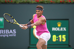 March 10, 2019 - Indian Wells, CA, U.S. - INDIAN WELLS, CA - MARCH 10: Rafael Nadal (ESP) hits a backhand during the BNP Paribas Open on March 10, 2019 at Indian Wells Tennis Garden in Indian Wells, CA. (Photo by George Walker/Icon Sportswire) (Credit Image: © George Walker/Icon SMI via ZUMA Press)