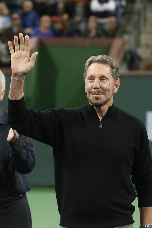 March 1, 2014, Indian Wells, California: <br /> Larry Ellison, BNP Paribas Open Tournament Owner, is introduced during the McEnroe Challenge for Charity presented by Esurance at Indian Wells Tennis Garden. <br /> (Photo by Billie Weiss/BNP Paribas Open)