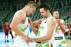 Alen Omic of Slovenia and Mitja Nikolic of Slovenia celebrate after winning during basketball match between Slovenia and Macedonia at Day 6 in Group C of FIBA Europe Eurobasket 2015, on September 10, 2015, in Arena Zagreb, Croatia. Photo by Vid Ponikvar / Sportida ###THIS IMAGE IS JUST FOR USE IN SLOVENIA!!! ###