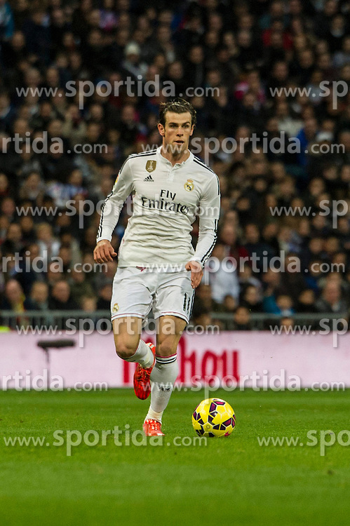 14.02.2015, Estadio Santiago Bernabeu, Madrid, ESP, Primera Division, Real Madrid vs Deportivo La Coruna, 23. Runde, im Bild Real Madrid&acute;s Gareth Bale // during the Spanish Primera Division 23rd round match between Real Madrid vs Deportivo La Coruna at the Estadio Santiago Bernabeu in Madrid, Spain on 2015/02/14. EXPA Pictures &copy; 2015, PhotoCredit: EXPA/ Alterphotos/ Luis Fernandez<br /> <br /> *****ATTENTION - OUT of ESP, SUI*****