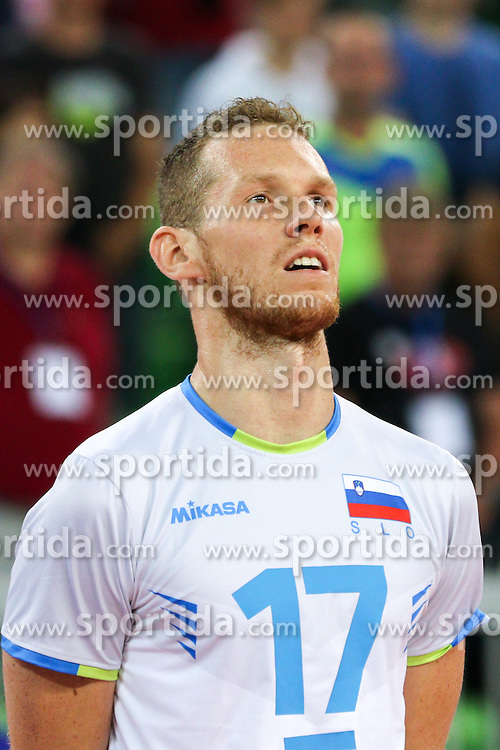 Tine Urnaut of Slovenia during friendly volleyball match between national teams of Slovenia and Brasil in Arena Stozice on 9. September 2015 in , Ljubljana, Slovenia. Photo by Matic Klansek Velej / Sportida