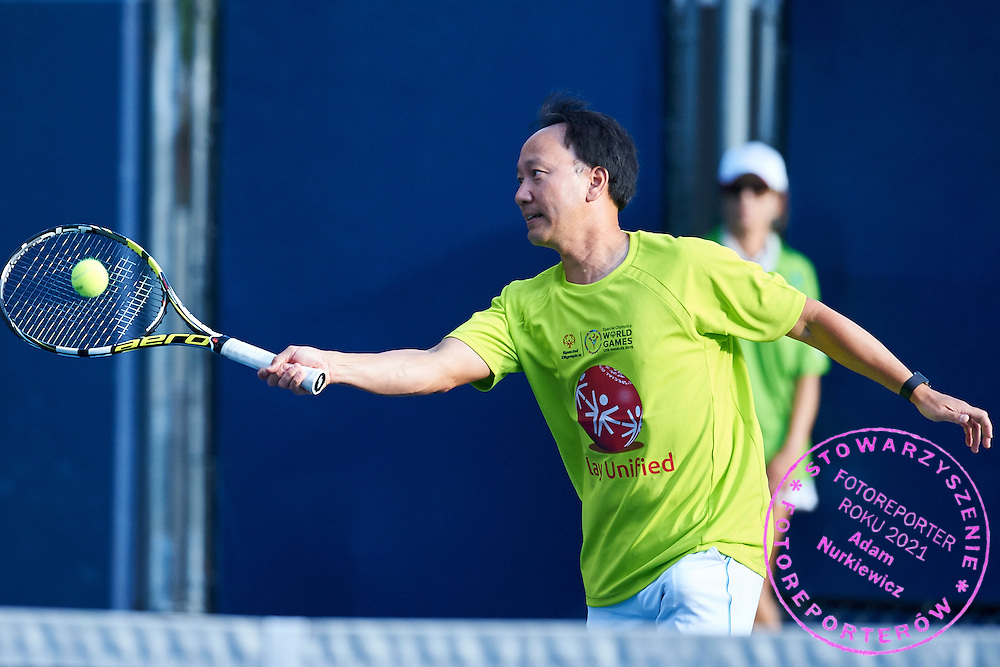 Michael Te-Pei Chang an American former tennis player (the youngest male player to win a Grand Slam singles title when he won the French Open in 1989) in action while Unified Tennis Experience during sixth day of the Special Olympics World Games Los Angeles 2015 on July 30, 2015 at Tennis Centre on UCLA (University of California Los Angeles) in Los Angeles, USA.<br /> <br /> USA, Los Angeles, July 30, 2015<br /> <br /> Picture also available in RAW (NEF) or TIFF format on special request.<br /> <br /> For editorial use only. Any commercial or promotional use requires permission.<br /> <br /> Adam Nurkiewicz declares that he has no rights to the image of people at the photographs of his authorship.<br /> <br /> Mandatory credit:<br /> Photo by &copy; Adam Nurkiewicz / Mediasport