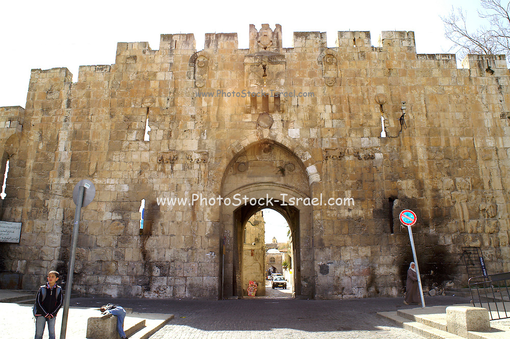 Lions gate, AKA St. Stephen's Gate and Bab El Isbat and Bab Sitna Mariam Jerusalem old city walls