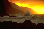 Sunset, Napali Coast, Kauai, Hawaii USA<br />